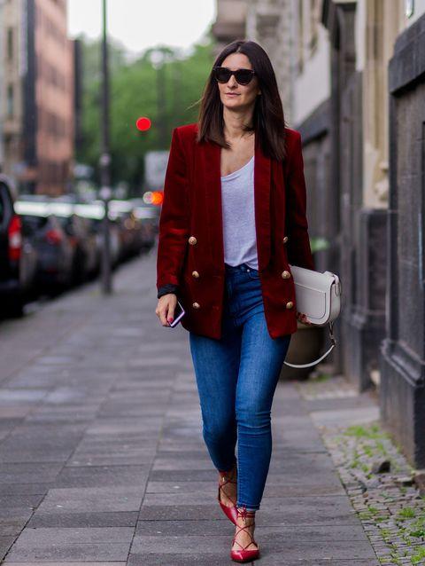 Clothing, Jeans, Street fashion, Red, Blazer, Outerwear, Fashion, Jacket, Electric blue, Cobalt blue,