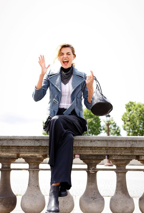 Clothing, Leg, Sleeve, Trousers, Collar, Coat, Outerwear, Happy, Dress shirt, Style,