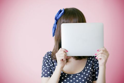 Hair, Blue, Pink, Shoulder, Skin, Hairstyle, Beauty, Purple, Polka dot, Pattern,