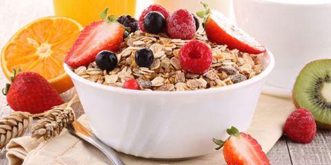 Dish, Food, Cuisine, Breakfast cereal, Meal, Breakfast, Fruit salad, Ingredient, Muesli, Vegetarian food,
