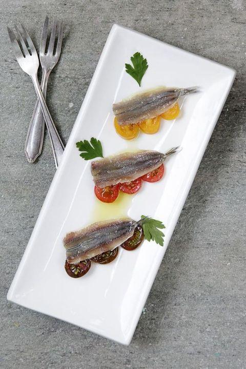 Food, Ingredient, Dishware, Kitchen utensil, Grey, Cutlery, Fork, Seafood, Fish, Meat,