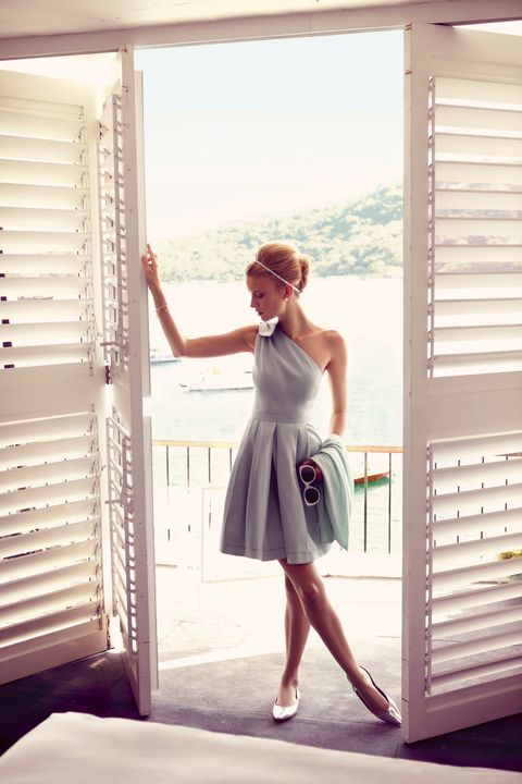 White, Photograph, Clothing, Dress, Beauty, Shoulder, Fashion, Standing, Room, Window covering,