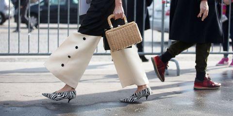 Clothing, Footwear, Leg, Brown, Textile, Shoe, Bag, Joint, Outerwear, White,