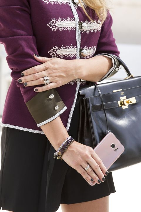 Clothing, Bag, Hand, Outerwear, Fashion accessory, Style, Fashion, Magenta, Wrist, Luggage and bags,