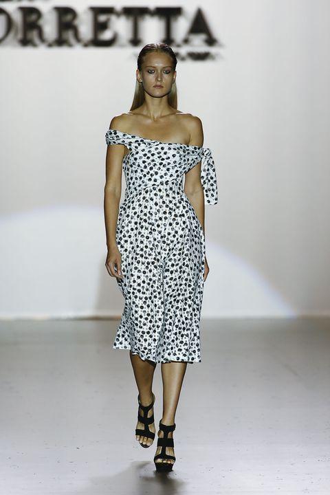 Dress, Fashion show, Shoulder, Joint, One-piece garment, Runway, Fashion model, Waist, Style, Pattern,