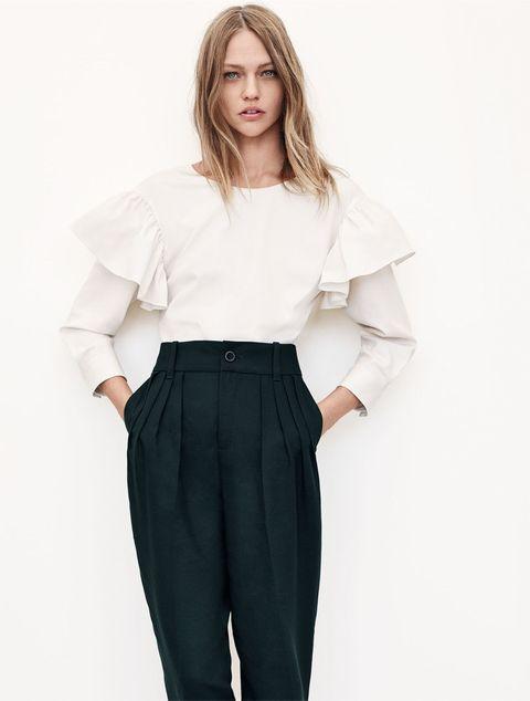 Clothing, Dress shirt, Collar, Sleeve, Trousers, Shoulder, Shirt, Standing, Joint, Waist,