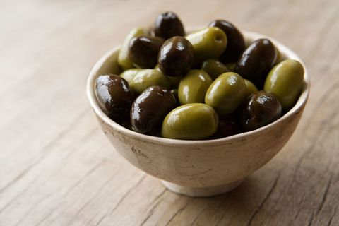 Olive, Food, Fruit, Plant, Bowl, Ingredient, Produce, Superfood, Cuisine, Olive family,