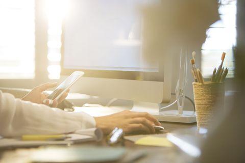 Office supplies, Desk, Flowerpot, Vase, Houseplant, Office equipment, Office instrument, Writing, Writing desk,