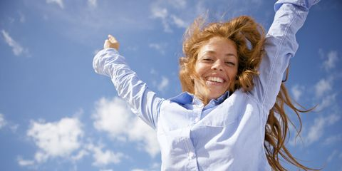 Daytime, Sleeve, Cloud, Happy, Rejoicing, People in nature, Facial expression, Gesture, Tooth, Cumulus,