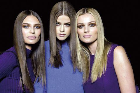 Hair, Face, Blond, Hairstyle, Beauty, Eyebrow, Purple, Blue, Head, Fashion,