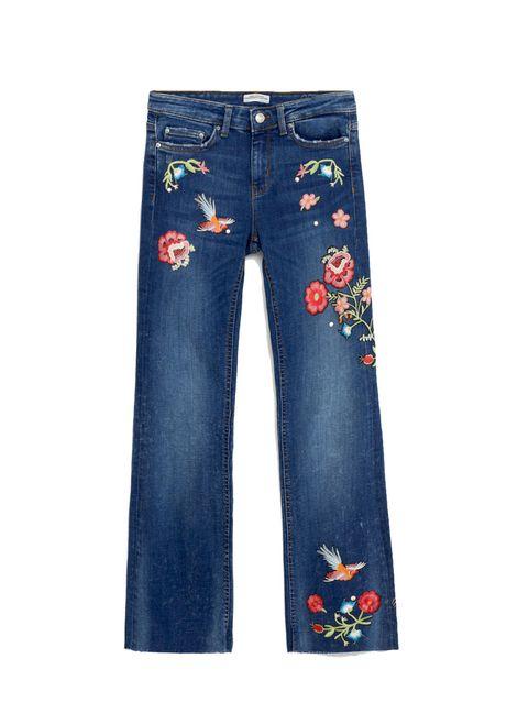 Clothing, Blue, Denim, Pocket, Jeans, Textile, Electric blue, Orange, Fashion design, Button,