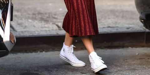 Footwear, Shoe, Human leg, White, Style, Carmine, Pattern, Street fashion, Fashion, Black,