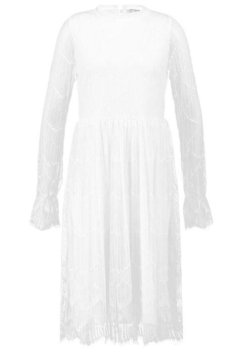 Dress, Sleeve, Shoulder, Textile, White, Pattern, Style, One-piece garment, Fashion, Neck,