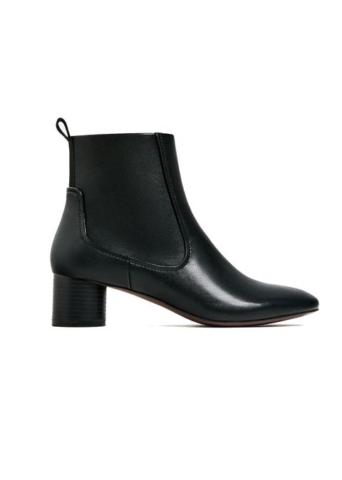 Boot, Leather, Black, Beige, Synthetic rubber, Dress shoe,