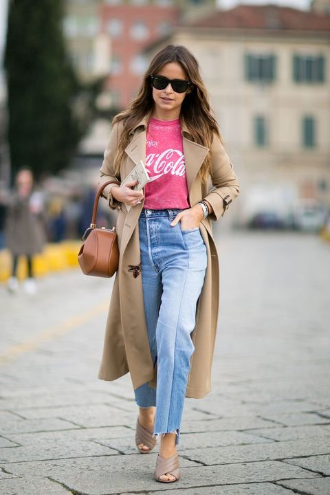 Clothing, Jeans, Street fashion, Pink, Denim, Fashion, Snapshot, Brown, Beige, Outerwear,