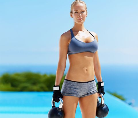 Weights, Shoulder, Clothing, Exercise equipment, Physical fitness, Kettlebell, Undergarment, Human leg, Joint, Sportswear,