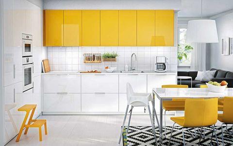 Room, Interior design, Yellow, Floor, Property, Flooring, White, Orange, Furniture, Line,
