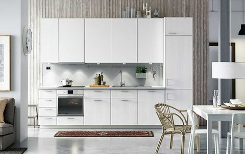 Room, Interior design, Floor, Furniture, White, Home, Flooring, Major appliance, Line, Kitchen,