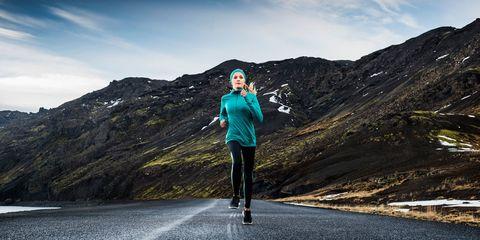 Mountainous landforms, Asphalt, Highland, Jacket, Mountain, Knee, Street fashion, Ridge, Active pants, Summit,