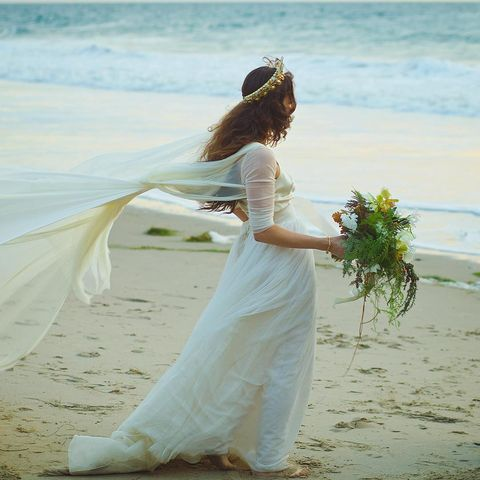 Clothing, Photograph, People on beach, Bridal clothing, Dress, People in nature, Summer, Coastal and oceanic landforms, Wedding dress, Bride,