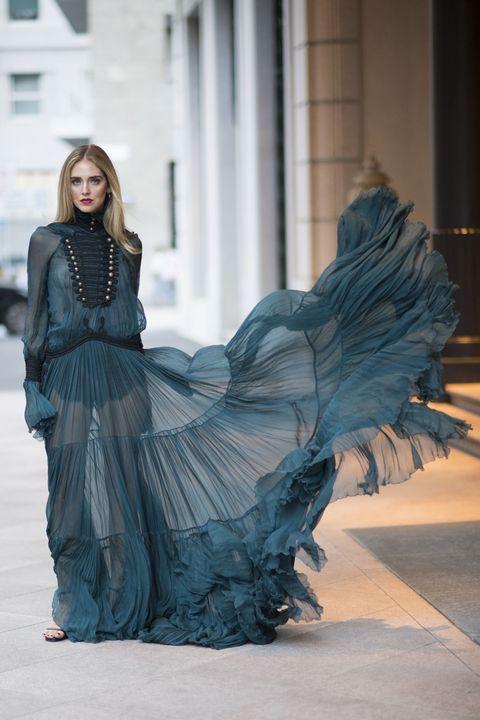 Blue, Clothing, Fashion, Beauty, Dress, Fashion design, Long hair, Haute couture, Fashion model, Gown,