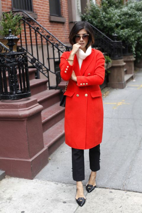 Clothing, Red, Photograph, Coat, Trench coat, Street fashion, Snapshot, Outerwear, Overcoat, Fashion,