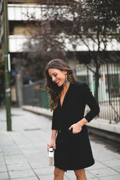 Clothing, Black, Street fashion, Photograph, Shoulder, Little black dress, Fashion, Snapshot, Beauty, Black-and-white,
