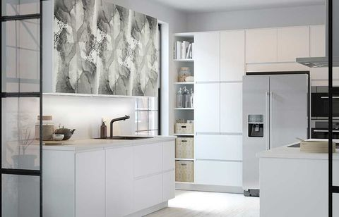 Room, Floor, Interior design, Property, Flooring, White, Cupboard, Wall, Glass, Cabinetry,