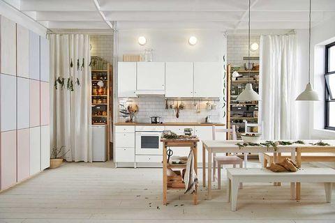 Wood, Room, Interior design, Floor, Ceiling, Flooring, Light fixture, Interior design, House, Kitchen appliance,