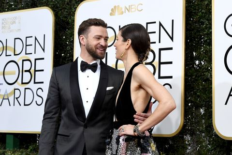 BEVERLY HILLS, CA - JANUARY 08:  74th ANNUAL GOLDEN GLOBE AWARDS -- Pictured: (l-r) Singer/actor Justin Timberlake and actress Jessica Biel arrive to the 74th Annual Golden Globe Awards held at the Beverly Hilton Hotel on January 8, 2017.  (Photo by Kevork Djansezian/NBC/NBCU Photo Bank via Getty Images)