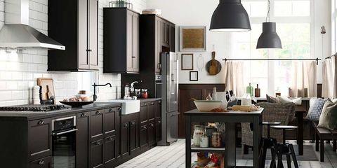 Room, White, Furniture, Interior design, Kitchen, Cabinetry, Grey, Kitchen appliance, Light fixture, Countertop,
