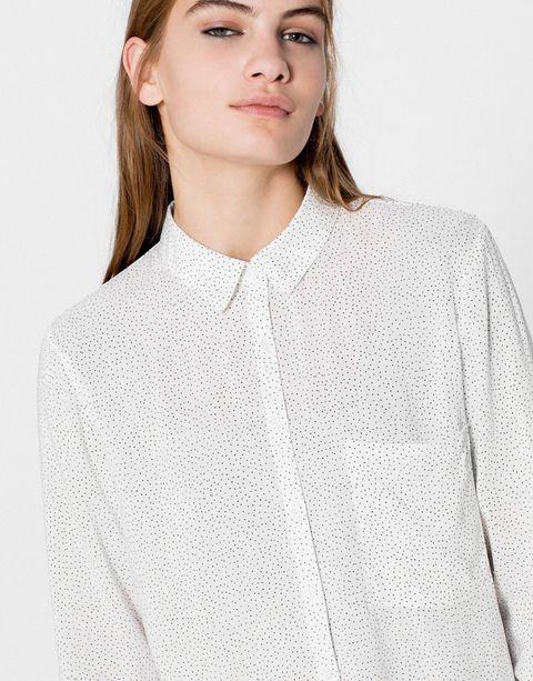 Clothing, Lip, Hairstyle, Sleeve, Collar, Shoulder, Textile, Style, Eyelash, Fashion,