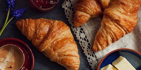 Food, Cuisine, Serveware, Croissant, Dishware, Dish, Tableware, Baked goods, Plate, Ingredient,