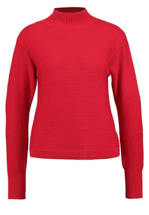 Product, Sweater, Sleeve, Shoulder, Red, Textile, Outerwear, Pattern, White, Wool,