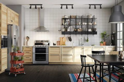 Wood, Room, Interior design, Furniture, Floor, Kitchen, Cabinetry, Drawer, Flooring, Home appliance,