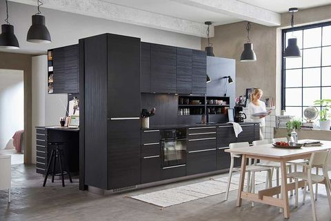Floor, Room, Interior design, Furniture, Flooring, Table, Ceiling, Light fixture, Kitchen appliance, Cupboard,