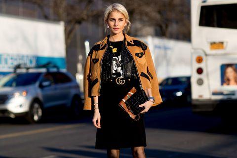 Outerwear, Street fashion, Bag, Fashion, Jacket, Luggage and bags, Blond, Waist, Fashion model, Leather,