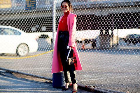 Outerwear, Sunglasses, Bag, Coat, Street, Street fashion, Fashion accessory, Luggage and bags, Mesh, Jacket,