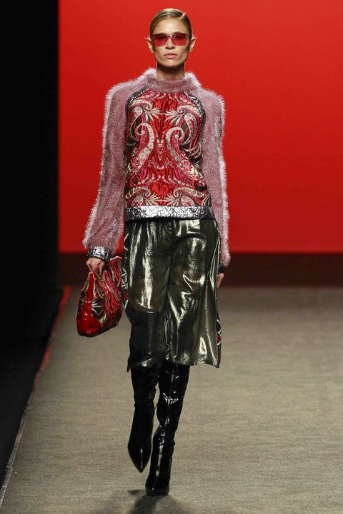 Human body, Textile, Red, Joint, Outerwear, Fashion show, Style, Fashion model, Fashion accessory, Runway,
