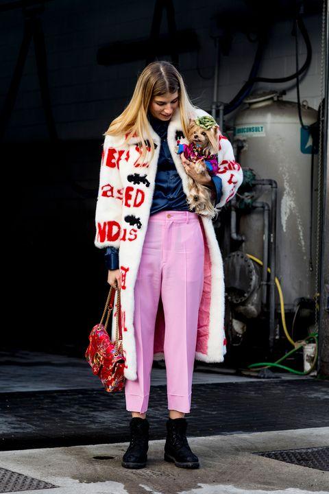 Shoe, Textile, Outerwear, Coat, Style, Street fashion, Bag, Fashion, Boot, Fur,