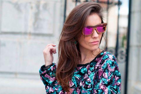 Clothing, Eyewear, Vision care, Glasses, Sleeve, Sunglasses, Street fashion, Magenta, Beauty, Eye glass accessory,