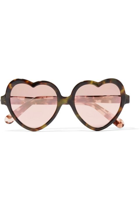 Eyewear, Sunglasses, Glasses, Pink, Personal protective equipment, Vision care, Brown, Peach, Goggles, Heart,