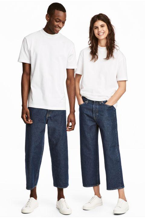 Clothing, White, Jeans, Denim, Blue, Standing, Pocket, T-shirt, Shoulder, Sleeve,