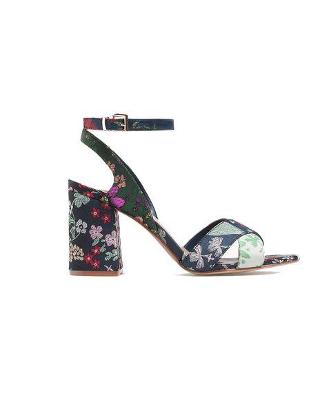 Footwear, Sandal, Slingback, Turquoise, Shoe, Wedge, Beige,