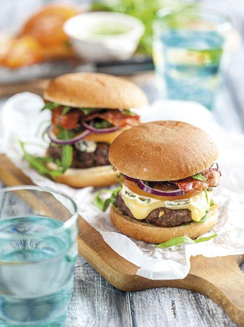 Food, Hamburger, Dish, Cuisine, Slider, Veggie burger, Ingredient, Breakfast sandwich, Cheeseburger, Sandwich,