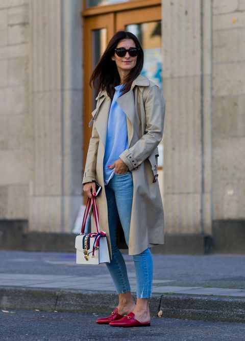 Clothing, Street fashion, White, Fashion, Coat, Trench coat, Jeans, Footwear, Snapshot, Outerwear,