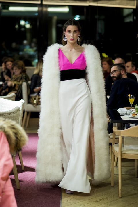 Clothing, Fashion model, Dress, Gown, Fashion, Haute couture, Fur, Shoulder, Fur clothing, Pink,