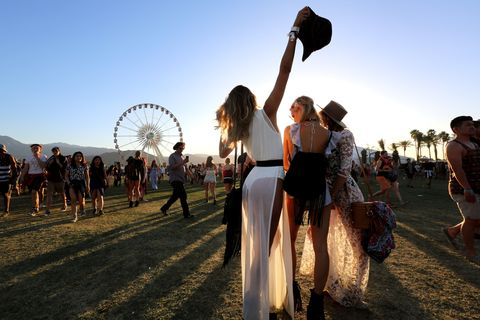 INDIO, CA - APRIL 16:  Music fans attend day 2 of the 2016 Coachella Valley Music & Arts Festival (Weekend 1) at the Empire Polo Club on April 16, 2016 in Indio, California.  (Photo by David McNew/Getty Images for Coachella)