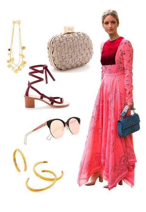 Eyewear, Vision care, Brown, Dress, Bag, One-piece garment, Fashion, Eye glass accessory, Day dress, Fashion design,