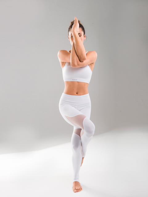 White, Skin, Shoulder, Leg, Joint, Standing, Physical fitness, Active pants, Stomach, Undergarment,